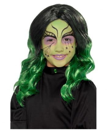 Hexen Kinder Perücke schwarz-grün
