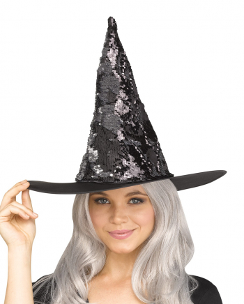 Witch Hat With Flip Sequins Silver