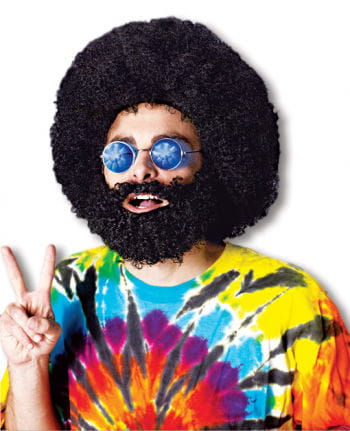 Hippi Afro Perücke mit Bart