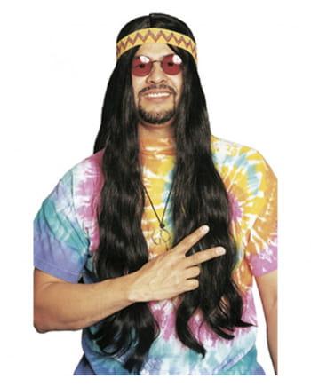 Hippie Perücke mit Haarband schwarz