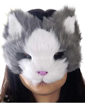 Fluffy cat mask gray / white