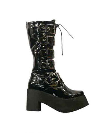 Inamagura patent leather boots with buckle