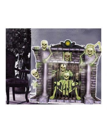 Kamin-Skelette Halloween Wanddeko