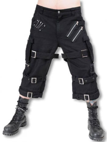 Knee-length pants with buckles and straps