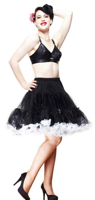Knee length petticoat black and white