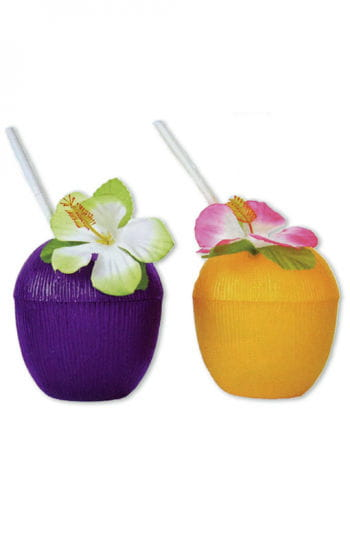 Coconut drinking cups with flower