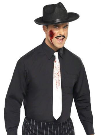 Weiße Krawatte mit Blutspritzer