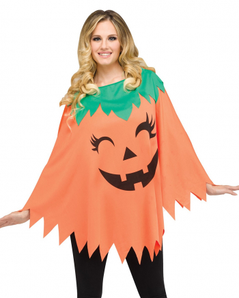 Halloween Pumpkin Poncho One Size