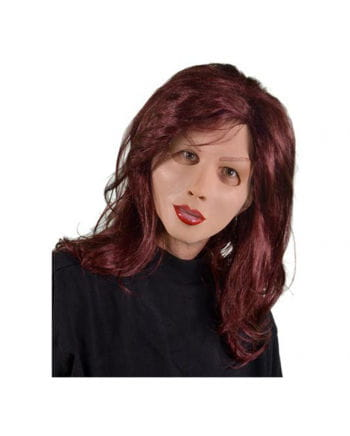 Latex Mask With Long Hair Wig