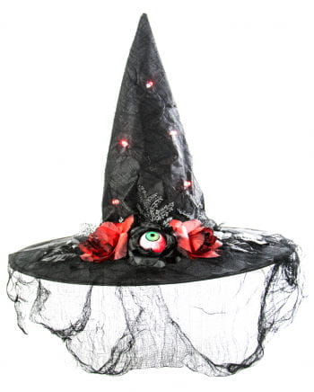 Luminous Witch Hat Mary Red Roses | Costume accessory | horror-shop.com