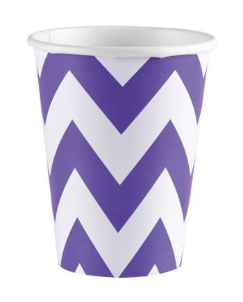 Purple Zig-zag Paper Cups 8 Pcs.