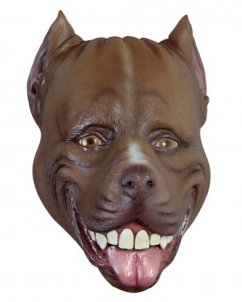 Braune Pitbull Latex Maske