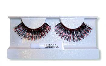 Metallic Real Hair Eyelashes Black Red