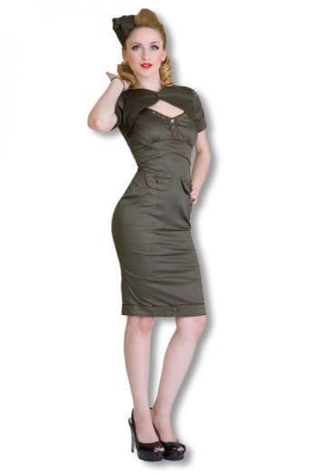Military dress khaki Rockabilly Dress 50s Dress | horror-shop.com