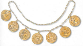 Münzen Kette goldfarben