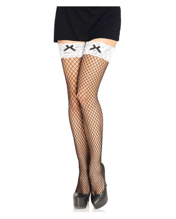Mesh stockings with white lace waistband