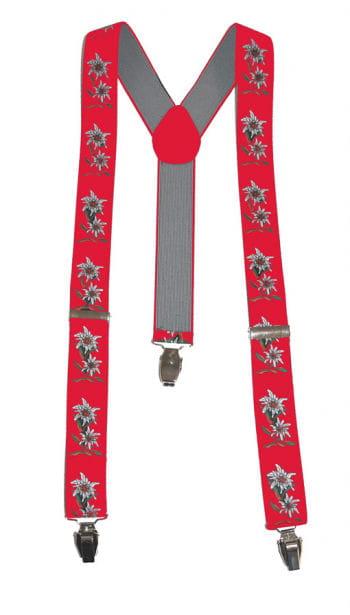 Oktoberfest suspenders Edelweiss red