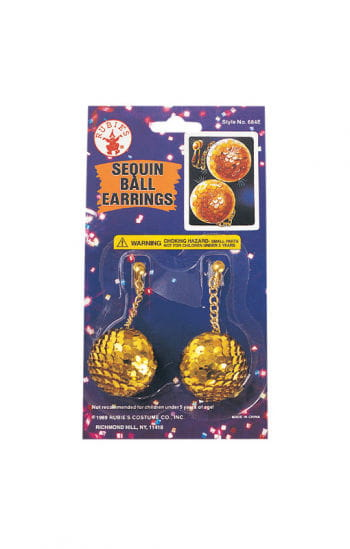 Sequins Disco Ball Earrings Gold