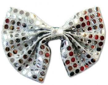 Sequin Bow Tie Silver