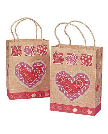 Papier-Geschenktüten Herz Motiv 12 St.
