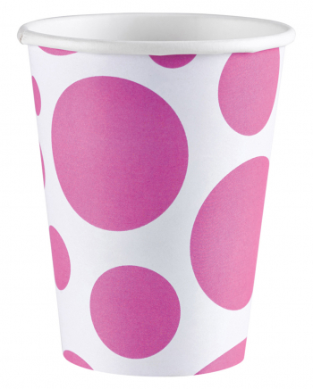 Pink Dots Paper Cup 8 Pcs.