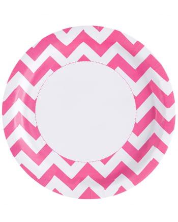 Pink Zig-zag Paper Plate 8 Pcs.