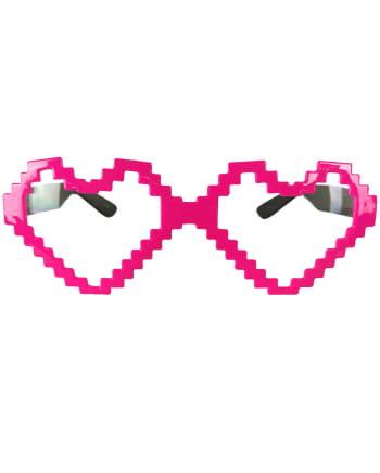 Pixel Herz Brille neonpink