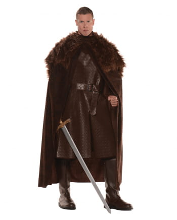 Renaissance cape with faux fur brown