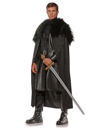 Renaissance Cloak With Artificial Fur Black