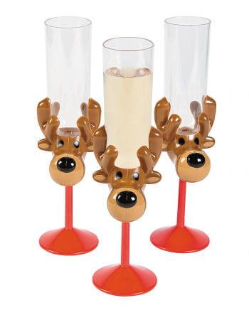 Reindeer champagne glass