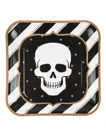 Retro Halloween Paper Plates Skull 8 Pc.