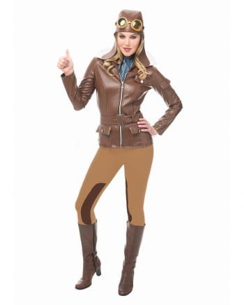 Retro Pilotin Kostüm mit Mütze