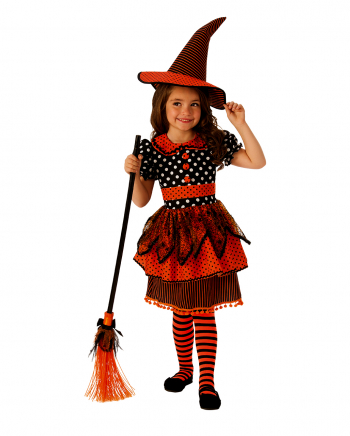Retro Polka Dot Witch Costume Black Red