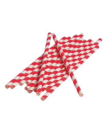 12 Paper Straws Red White