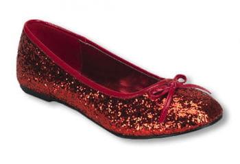 Rote Glitzer Ballerinas 38 UK 7 US 9