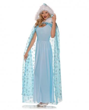 Schneekönigin Kostüm Umhang blau
