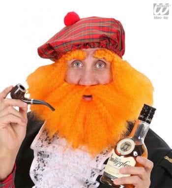 Schotten Mütze mit Haaren und Bart