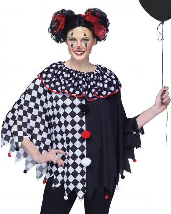 Schwarz Weißer Clowns Poncho One Size