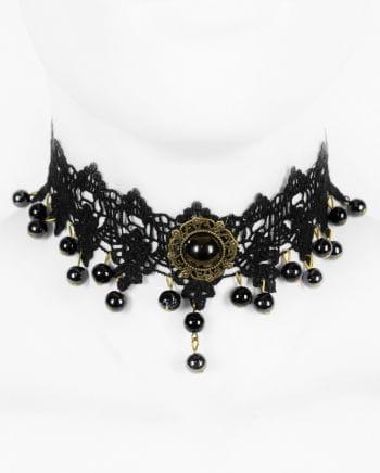 Viktorianische Halsketter mit schwarzer Perle