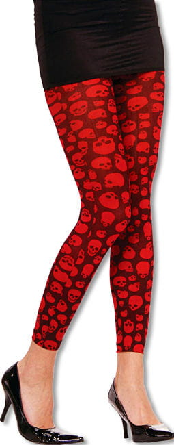 Black Leggings with Red Skulls