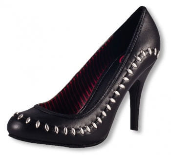Black court shoes with rivets