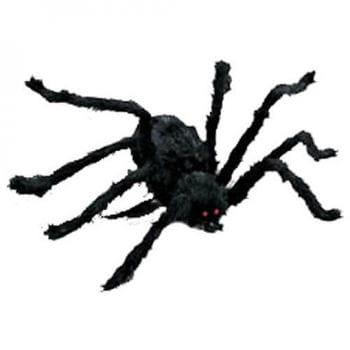 schwarze halloween spinne 116cm haarige spinnendekoration horror. Black Bedroom Furniture Sets. Home Design Ideas