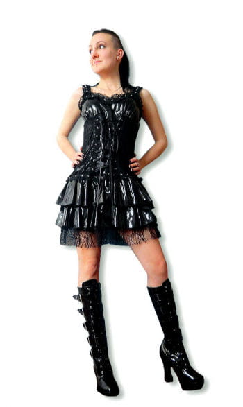 Black vinyl Dress Size. L