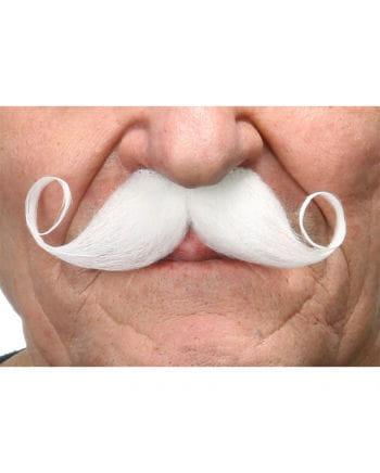 Self-adhesive white handlebar mustache