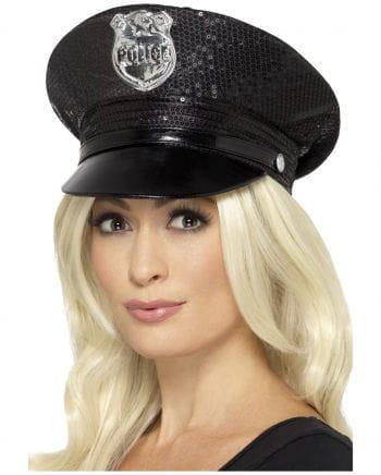 Sexy Polizei Mütze mit Pailletten