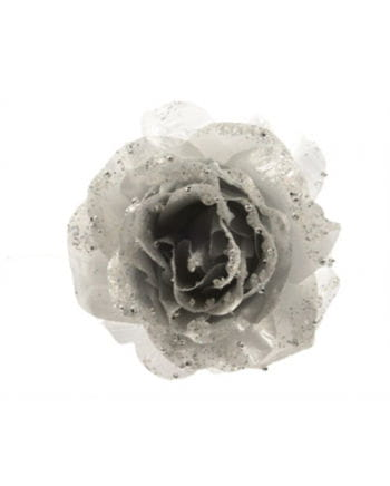 Glittering decoration rose with silver clip