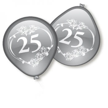 Silver Wedding Balloons 10 Pcs.