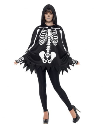 Skeleton Poncho Unisex With Gloves