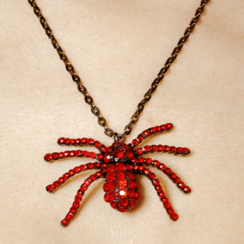 Spider Necklace with Red Rhinestones