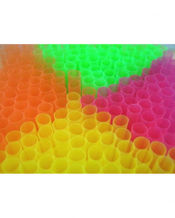 Straws of neon colors 100 pieces